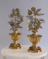 Pair of Gilt Wood and Painted Tole Ornaments
