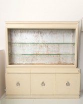 Ivory Lacquer and Silver Leaf Cabinet