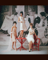 1920's Backdrop Three White Cocktail Dresses