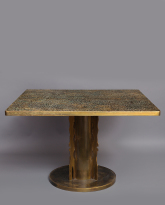 Patinated Brass Dining Table