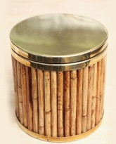 Bamboo and Brass Ice Bucket