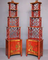 Pair of Japanned Etageres