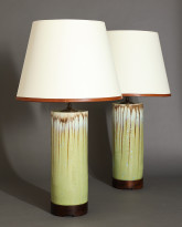 Pair of Cannula Table Lamps in Melon