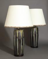 Pair of Bulldog Table Lamps in Pinstripe