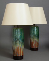 Pair of Bulldog Table Lamps in Earth